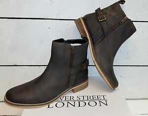 Leather Silver Ladies Brown Street Boots Ankle BqwS0w