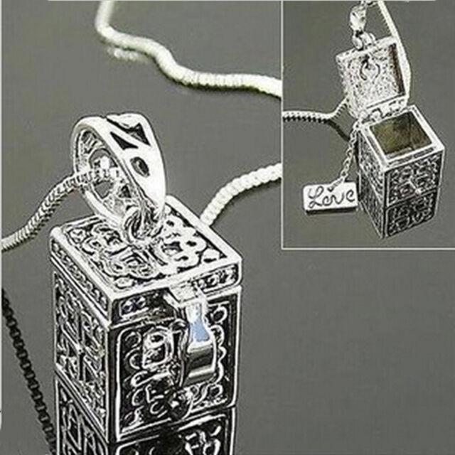 Metal Urn Cremation Pendant Necklace Ash Holder Mini Keepsake Jewelry Silver