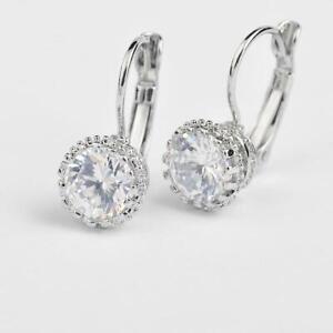 925 Sterling Silver Round CZ Dangle Earrings