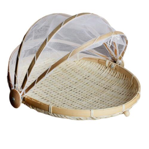 Bamboo Tent Basket Serving Food Outdoor Picnic Pop Mesh Screen Net Cover L1