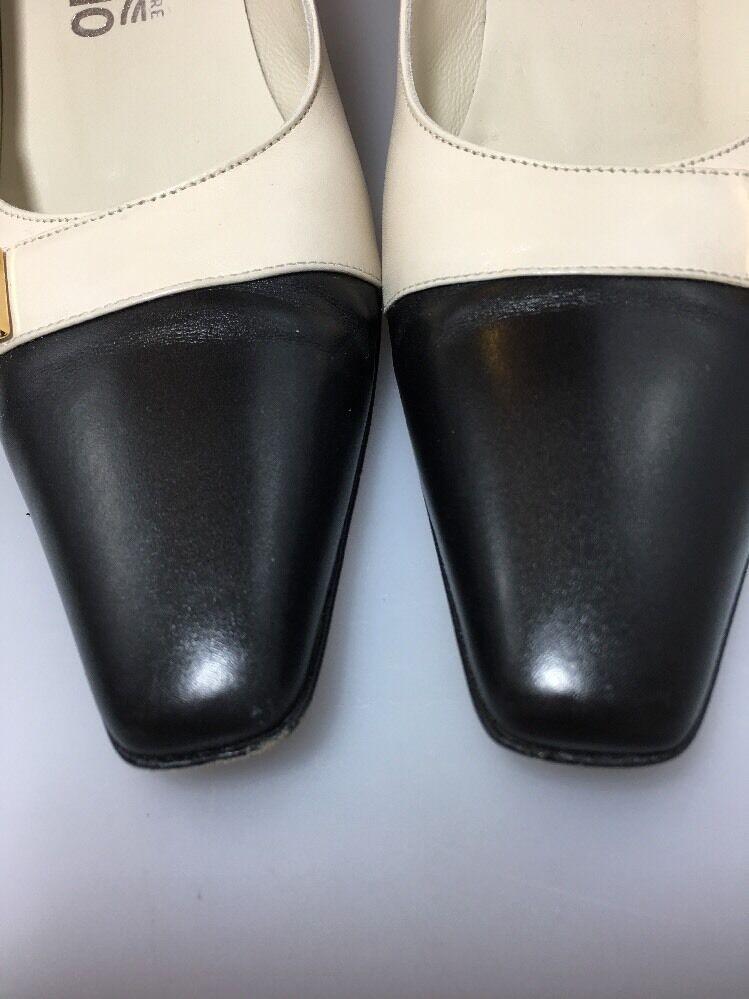 Salvatore Ferragamo Classic Cap Toe Pumps AAA hueso De y Negro Ropa De hueso Trabajo 32d84b