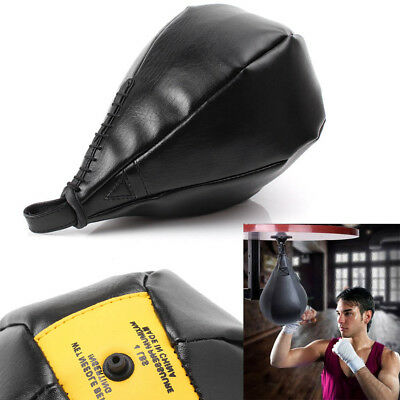 Double End Leather Speed Ball Training Punching Speed Bag Boxing MMA Punch Bag !