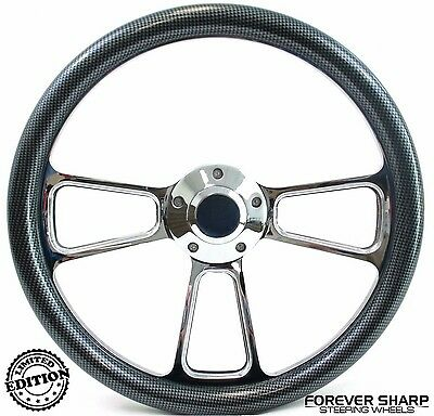 "14/"" Carbon Fiber Grip on Black Steering Wheel  Adapter for GM Spline"