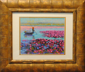 """Lotus land. Original framed oil on canvas paper 8""""x10"""" painting from artist"""