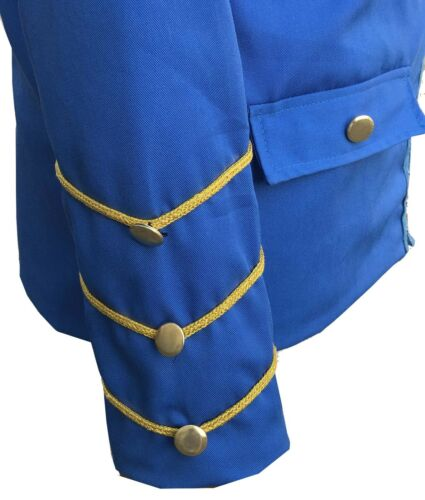 Hommes Handmade or Broderie Bleu Militaire Napoléon Crochet Veste 100/% coton