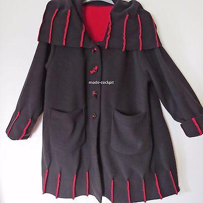 BORIS INDUSTRIES cooler Fleece Mantel Jacke farbige Nähte schwarz-rot 46-52