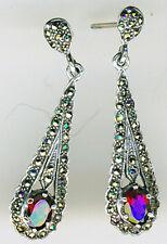 """925 Sterling Silver Garnet & Marcasite Drop / Dangle Earrings L 35mm  (1.3/8"""")"""