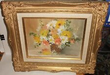 RUTH BASIER BURR ORIGINAL OIL ON CANVAS FLORAL BASKET PAINTING LISTED ARTIST