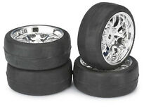 1:10 Scale Touring Car On Road Chrome Wheels & Tyres Slicks 12mm Hex  2510012
