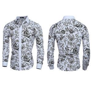 Fashion-Mens-Slim-Fit-Floral-Shirt-Casual-Long-Sleeve-Dress-Shirts-Luxury-Tops