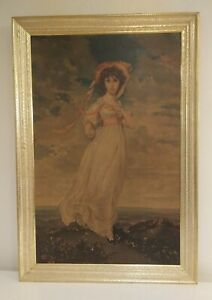 Large-Vintage-Antique-Gold-Wood-Framed-Pinkie-Lithograph-26-1-8-034-W-x-38-034-H
