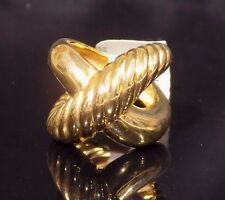 HSN Chunky Bellezza Yellow Bronze Etched Bold crossover X Style Ring Size 5