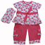 Baby girl Dizzy Daisy outfit trousers top bandana headscarf CORAL PINK cotton