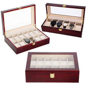 Watches, Parts & Accessories Jewelry & Watches United New 3 Slots Jewelry Watch Display Case Lacquer Wood Box Storage Holder
