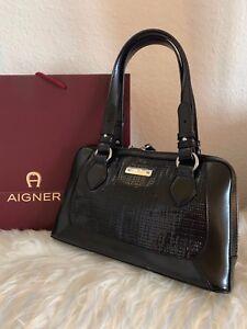sehen strukturelle Behinderungen neuer Stil Details zu Original Etienne Aigner Tasche Bag schwarz Leder Handtasche