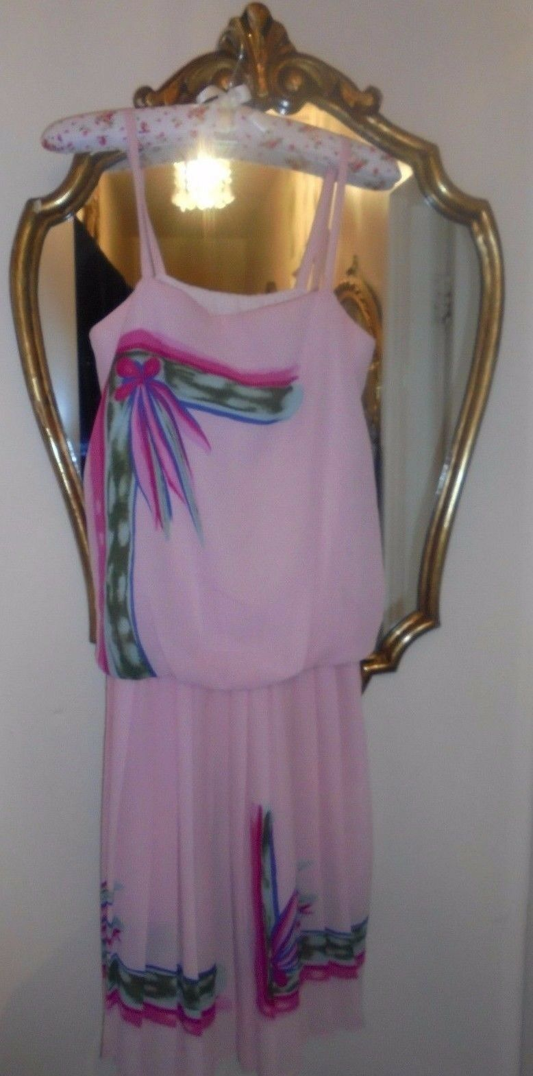 Vintage 1980s Beautiful Pink Pastel Crepe Summer Dress size 10 By Mark Angelo