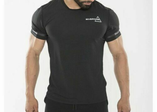 Brand new men/'s sports compression t-shirt in black sizes XS M fitted S