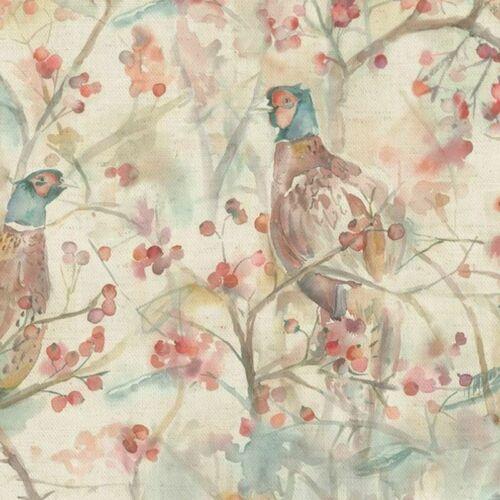 Voyage Maison Blackberry RowLinen Pheasant Watercolour Curtain Fabric