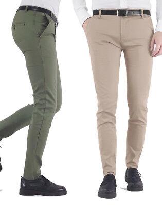 scarpe di separazione ff6ab 835c5 Pantaloni uomo slim fit tasche america leggeri cotone beige bianco ...