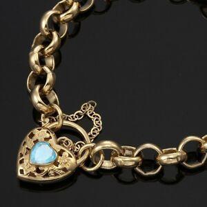 e8f74d574f6bb Details about 18K Yellow Gold GL Women's Solid CHUNKY Belcher Bracelet &  Topaz Filigree Heart