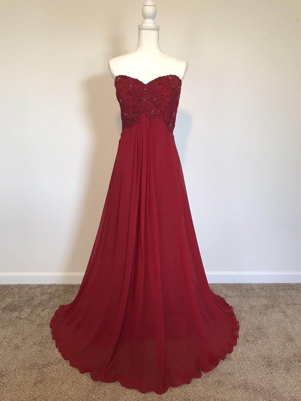 Montage Garnet Red Beaded Chiffon Gown w/Shawl Size 16 NWT