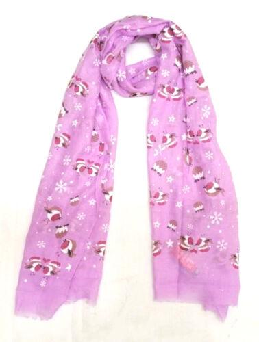 Womens Robin Bird Print Scarf Ladies Long Hijab Shawl Snood Girls Christmas Gift