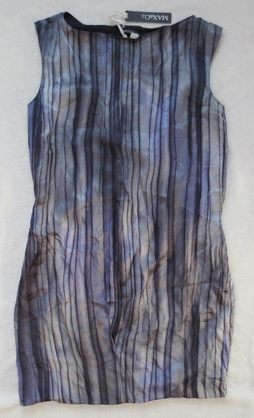 Neu MAX&Co Seide Desgigner Kleid Seidenkleid blau lilat Streifen M 40 Max & Co