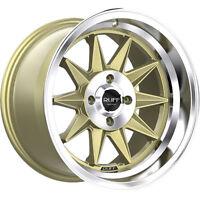 15x8.5 Ruff R358 Gold Machined Lip Wheel Rim (17 Offset, 4x100) on sale