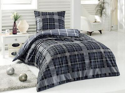 Pflichtbewusst 2 Tlg Renforce Baumwolle Bettwäsche Bettgarnitur 155x220 Cm Checker Grau Möbel & Wohnen Bettwäsche