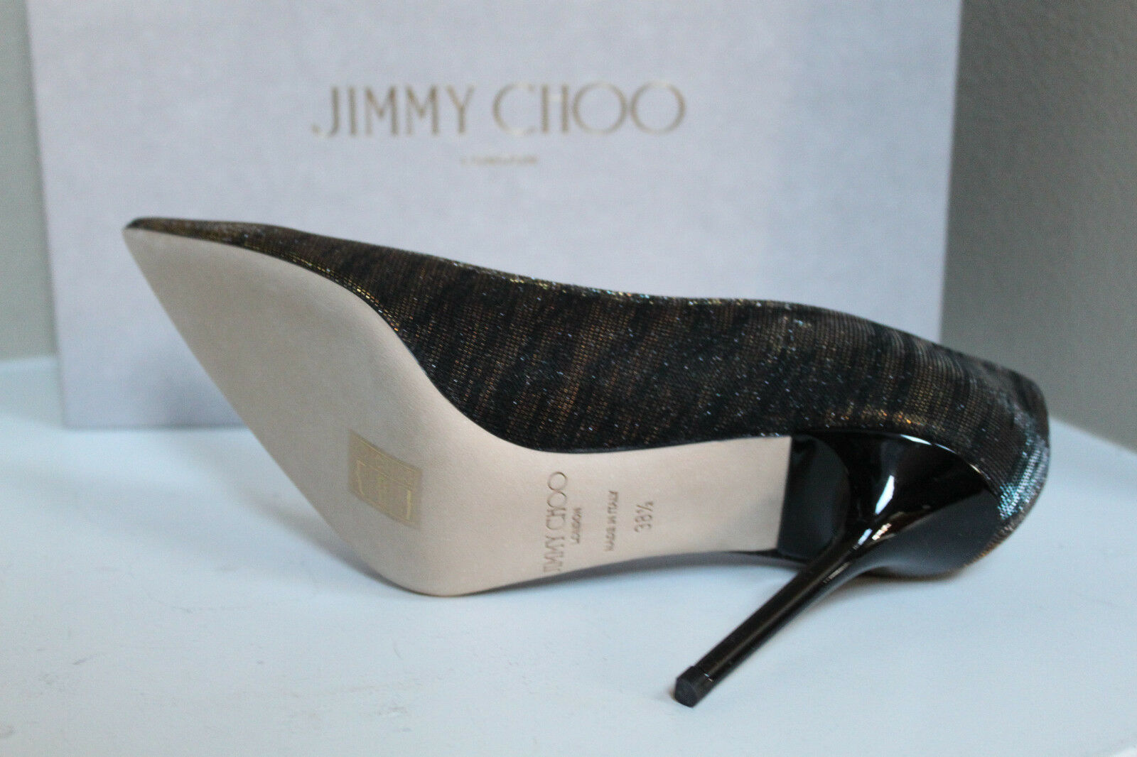 New 8.5   38.5 Jimmy Choo Abel Abel Abel Black Zebra Print Pointed Toe Glitter Pump shoes cad0c9