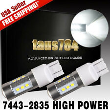 2 x High Power Projecter 15W 7443 LED White Reverse Backup Light Bulbs 1400LM US