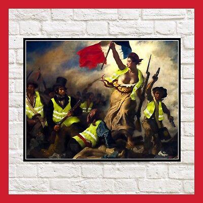 TOILE PEINTURE POSTER ART GJ GILET JAUNE LA LIBERTÉ GUIDANT LE PEUPLE DELACROIX | eBay