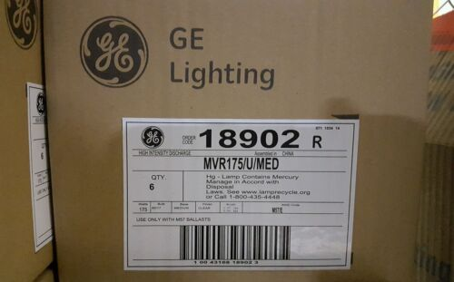 GE MVR175//U//MED METAL HALIDE 175 WATTS LAMPS M57 MH175 18902 NEW IN BOX CLEAR