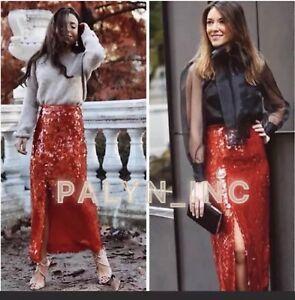 paillettes Zara S L 8442 865 Gonna scorre Aw18 M che rossa Xl nwt xs Sale Eveningwear C1qfnxa1w