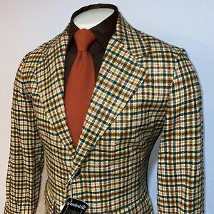 NEW-Vtg-60s-70s-Vanderbilt-Sport-Coat-Jacket-Blazer-Mid-Century-Plaid-Men-40-NOS