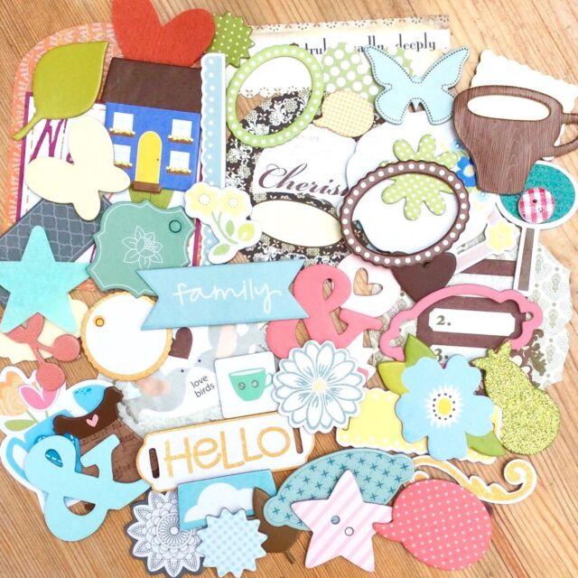 40 PIECES SURPRISE scrapbooking craft cardmaking set embellishments clearout