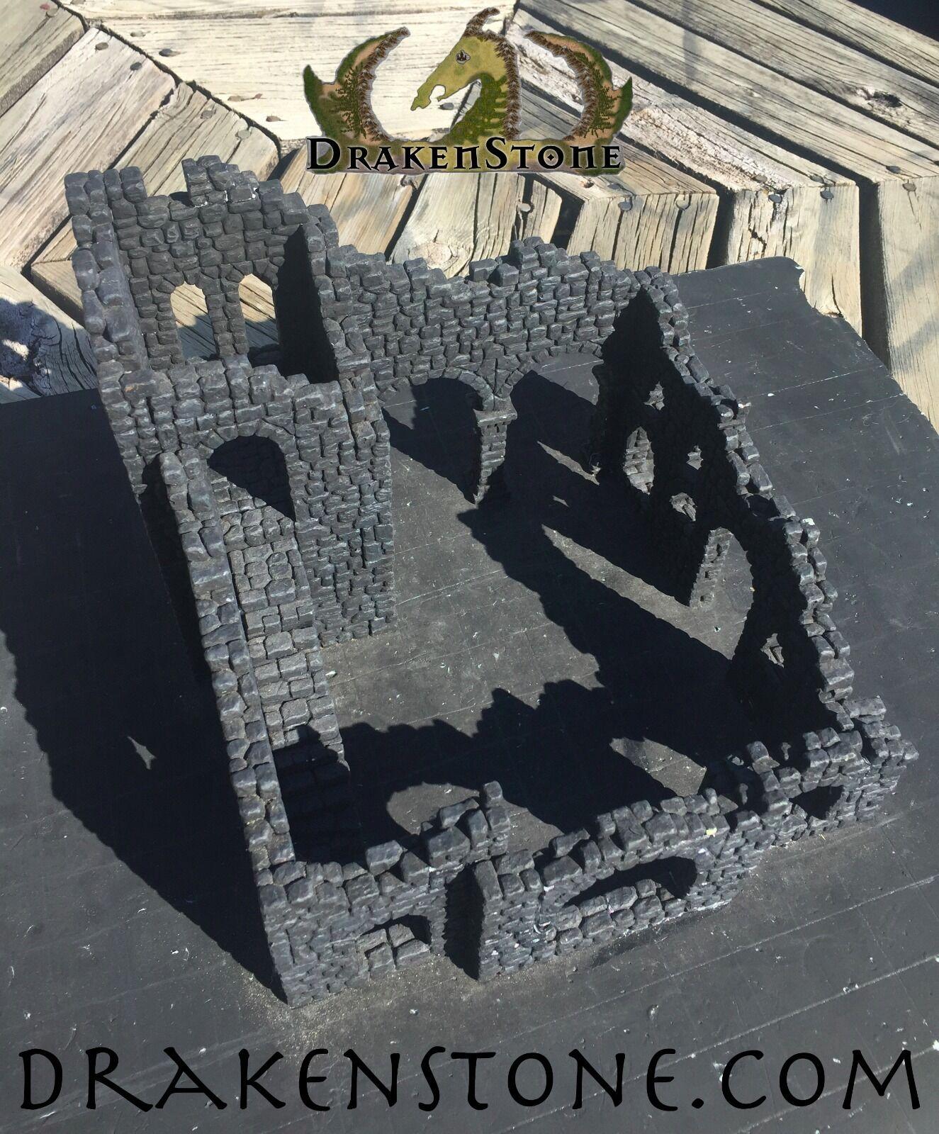 Drakenstone arruinado Fieldstone Torre Kit HYDROSTONE D&D Dwarven Forge Hirst Arts