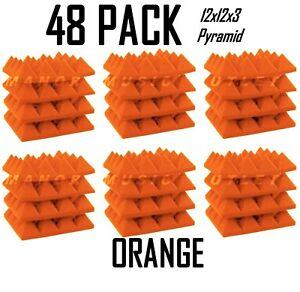 Acoustic-Foam-Pro-Pack-48-ORANGE-Pyramid-Studio-Soundproofing-Tiles-12x12x3-034