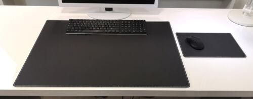 Schreibtischunterlage Mauspad Echt Leder Schwarz mit weißen Absatz 60x40 Rind