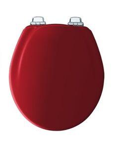 Excellent Details About Bemis 30Chsl 613 Red Round Wood Toilet Seat Soft Close Chrome Hinge Machost Co Dining Chair Design Ideas Machostcouk