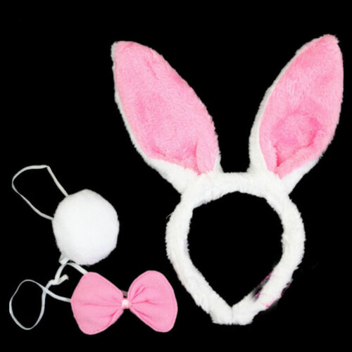 3 Piece Animal Halloween Pig Ear Headband Tie Tail Unisex Party Costume Set