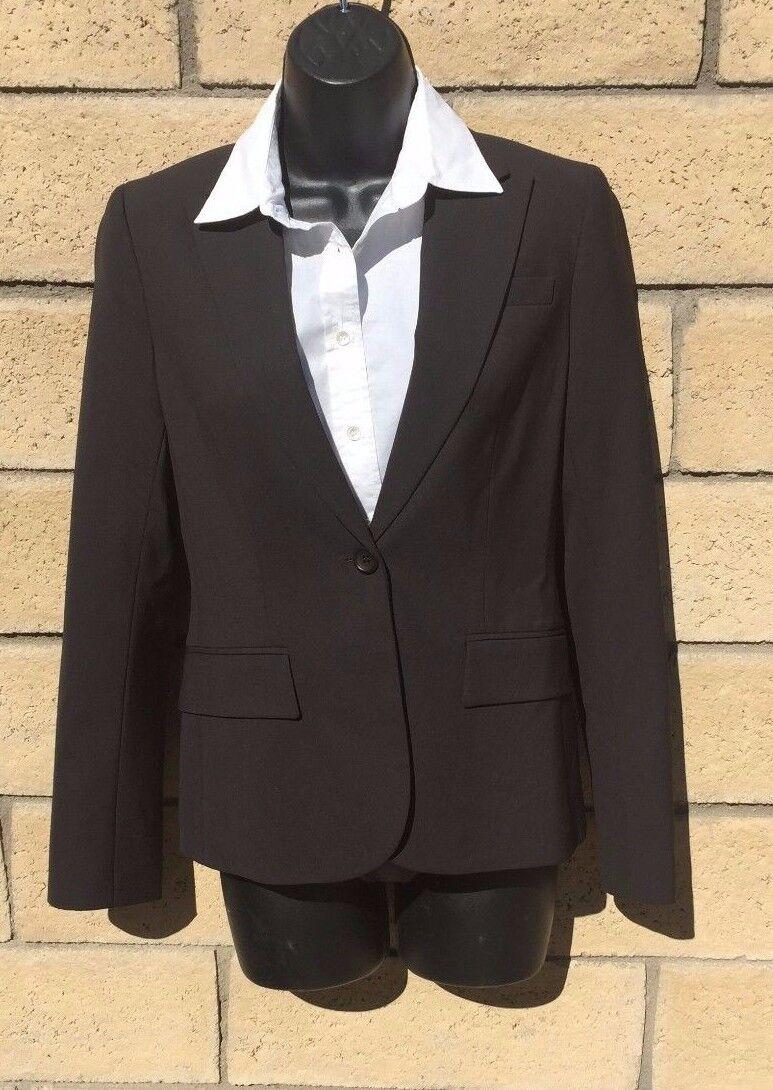 THEORY Dark Brown Wool One Button Blazer Notch Lapel Size 0 EUC