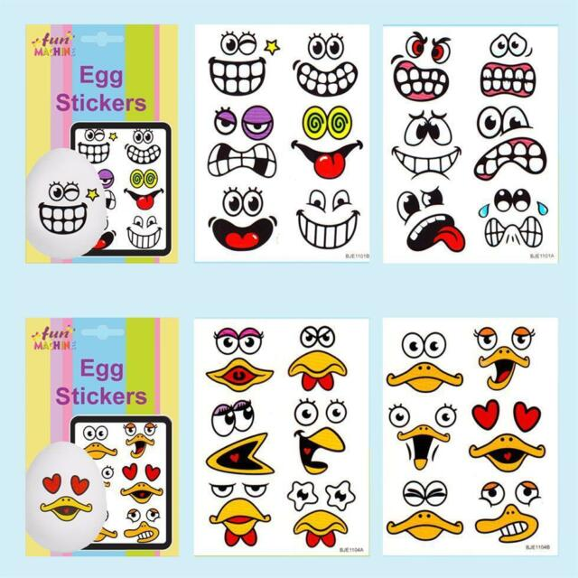 24 Easter Arts Egg Stickers & Craft Decorations Egg Hunt Funny Face(06515)