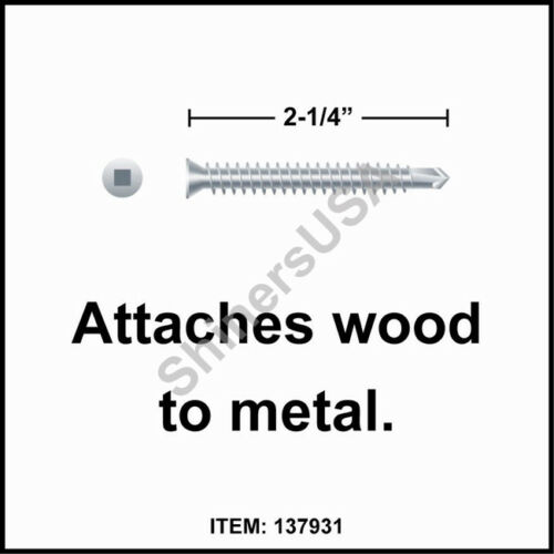 3000 6 x 2-1//4 Square Drive Trim Head Zinc Self Drilling TEK Screw #137931