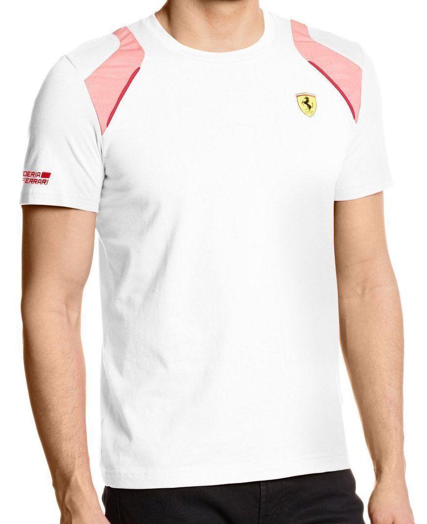 a2193fd550eccd Puma Men s Premium red Corsa Ferrari Sf Shield T-Shirt Tee White 761468