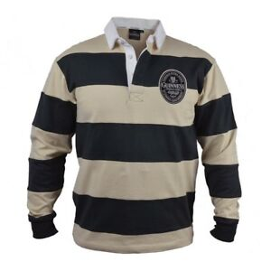 1c39711ef Details about Guinness Cream   Black Stripped Rugby Long Sleeve Jersey Mens Irish  Ireland New