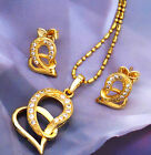 18k yellow gold filled GF double heart CZ necklace/earrings sets S-A310