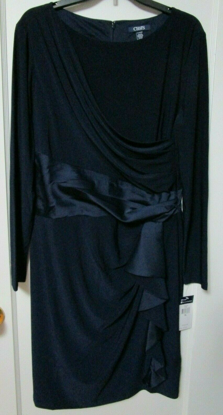 NWT Women's CHAPS Navy bluee Satin Sash Ruffle Front Dress Size XL - MSRP  110
