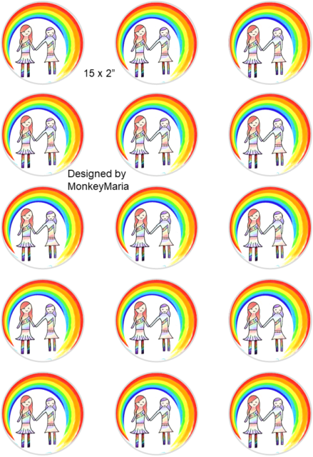 """50mm Details about  /LGBT pride flag; Cupcake Topper; 15 x 2/"""" circles."""