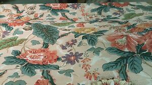 Vintage Cabbage Rose Floral Orange Green Cotton Upholstery Drapery